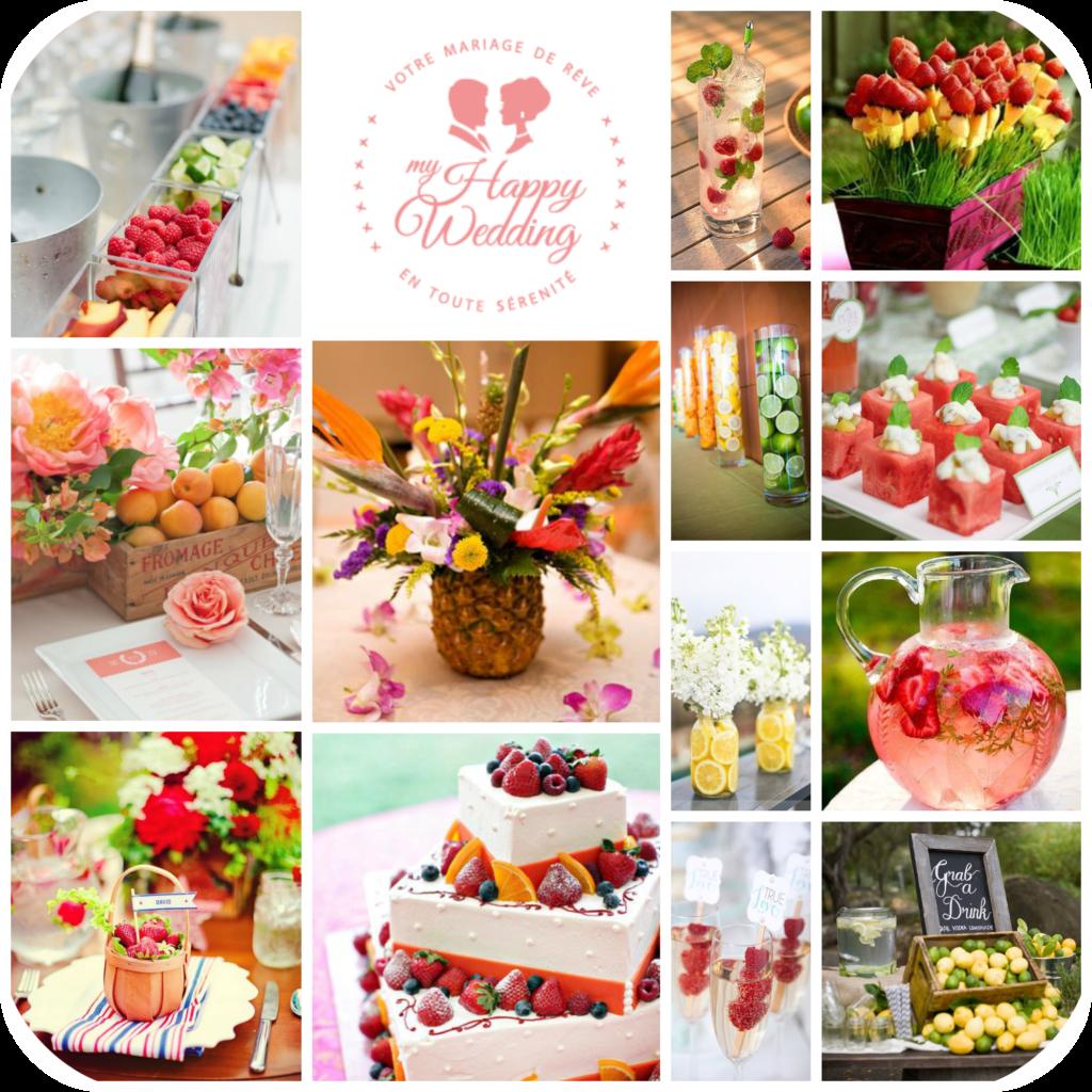 Idées décoration mariage fruits